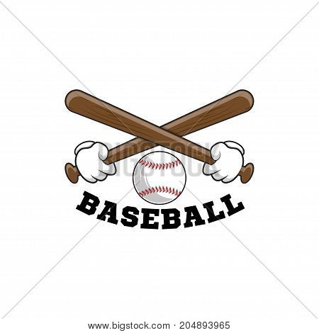 Baseball logo. Emblem of baseball tournament on white background. two arms hold crossed bits.