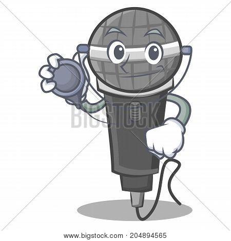 Doctor microphone cartoon character design vector illustration
