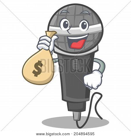 With money bag microphone cartoon character design vector illustration