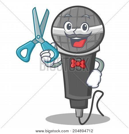 Barber microphone cartoon character design vector illustration