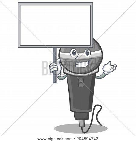 Bring board microphone cartoon character design vector illustration