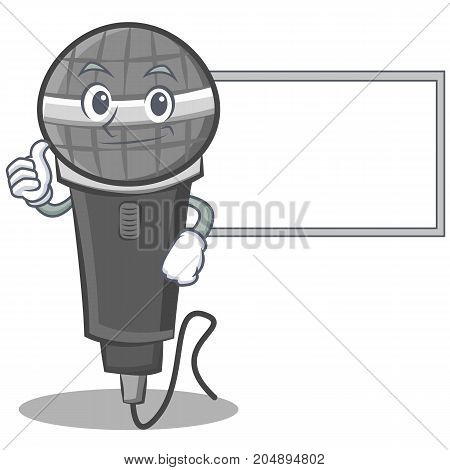 Thumbs up with board microphone cartoon character design vector illustration