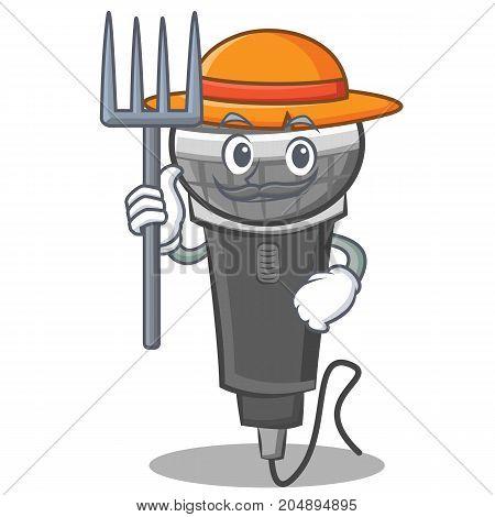 Farmer microphone cartoon character design vector illustration