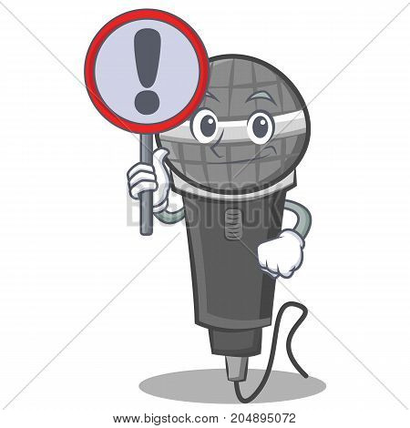 With sign microphone cartoon character design vector illustration
