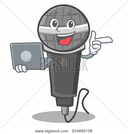 With laptop microphone cartoon character design vector illustration