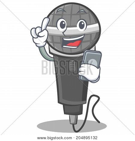 With phone microphone cartoon character design vector illustration