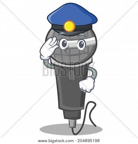 Police microphone cartoon character design vector illustration