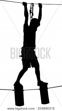 Extreme sportsman took down with rope. Man climbing vector silhouette illustration, isolated. Rescue mountain unit.