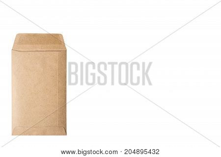 Close up of brown envelope on white background