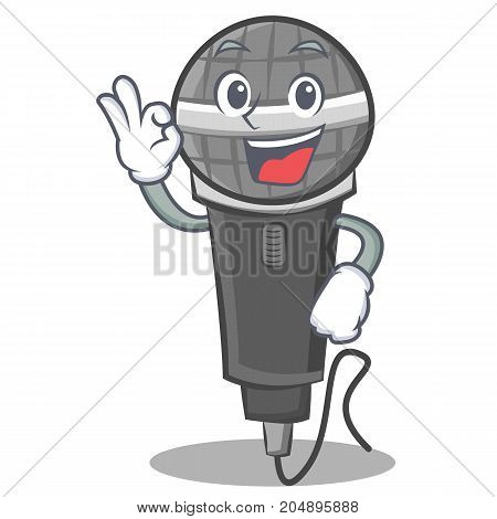 Okay microphone cartoon character design vector illustration