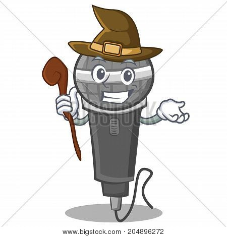 Witch microphone cartoon character design vector illustration