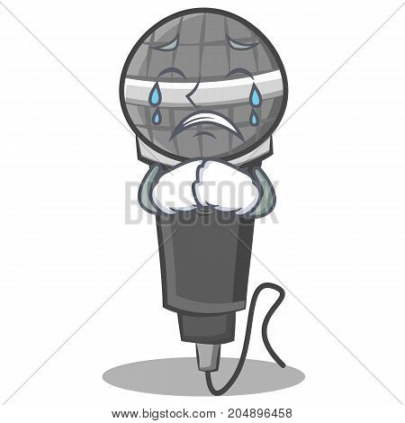 Crying microphone cartoon character design vector illustration