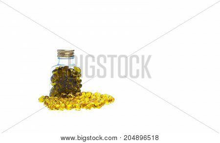 Cod liver oil in translucent plastic bottle with blank label on white background. Source of Omega-3 and vitamin A & D helps growth development and absorption of calcium and phosphorous in the body