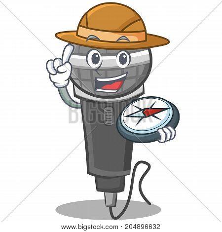 Explorer microphone cartoon character design vector illustration