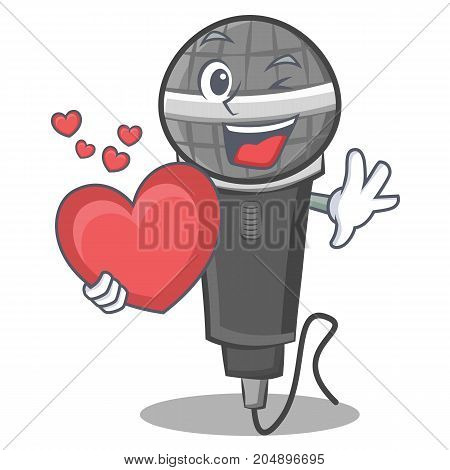 With heart microphone cartoon character design vector illustration