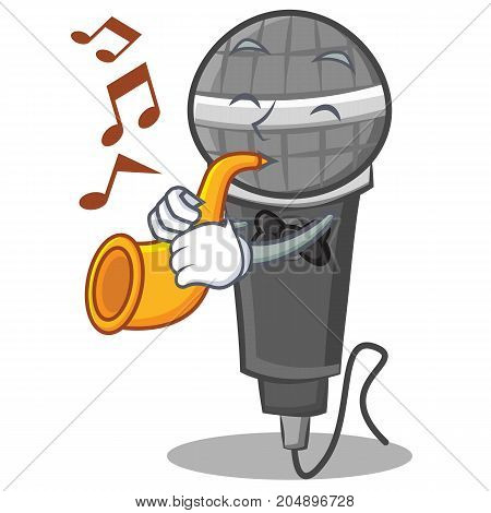With trumpet microphone cartoon character design vector illustration
