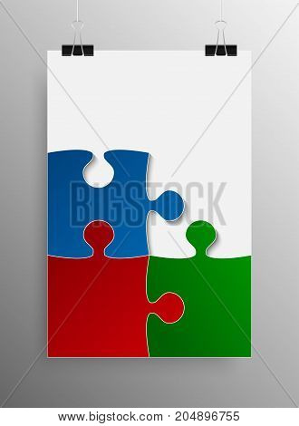 Vertical Poster Banner A4 Sized Vector Paper Clips. Blue Red Green Puzzle Pieces Arranged in a Rectangle - JigSaw - Vector Illustration. Jigsaw Puzzle Blank Template or Cutting.