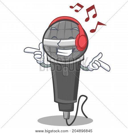 Listening music microphone cartoon character design vector illustration