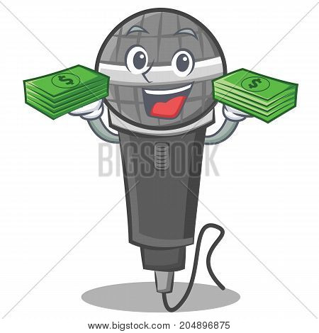 With money microphone cartoon character design vector illustration