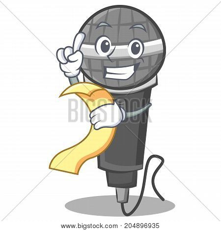 With menu microphone cartoon character design vector illustration