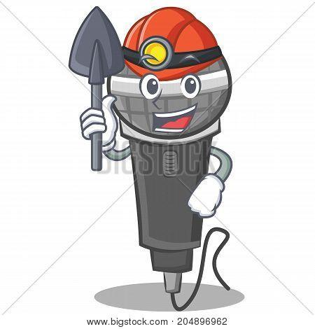 Miner microphone cartoon character design vector illustration
