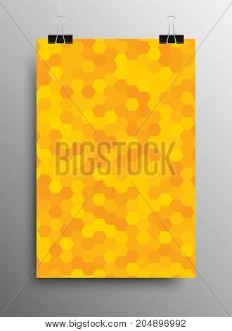 Vertical Poster Banner A4 Vector Paper Clips. Hexagonal Graphic Design.Vector Comb Illustration. Honeycomb Black Grey Background.Speaker Grille. Modern Abstract Texture. Template Print, Textile.