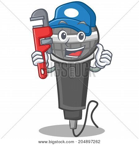 Plumber microphone cartoon character design vector illustration