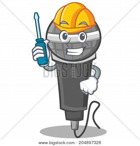 Automotive microphone cartoon character design vector illustration