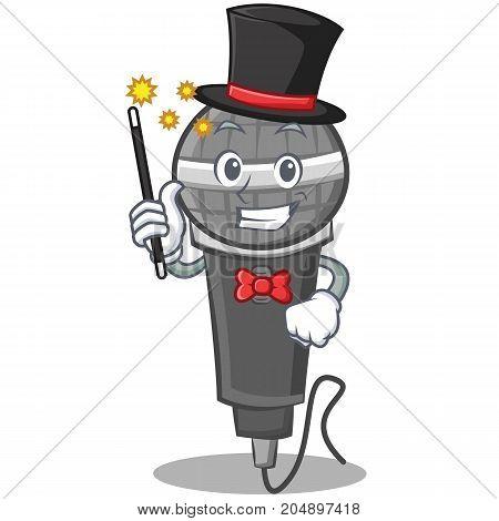 Magician microphone cartoon character design vector illustration