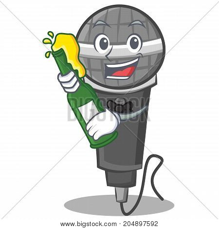 With beer microphone cartoon character design vector illustration