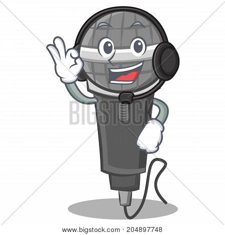 With headphone microphone cartoon character design vector illustration