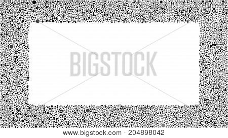 Abstract with Black Grey Bubbles Rectangle Frame on White Background. Random Dots for your Amazing Design. Rectangle Banner.