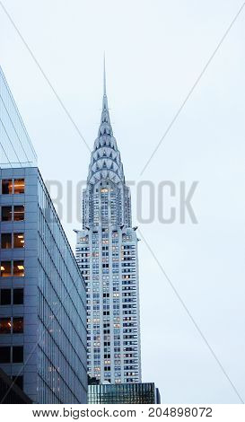 New York USA - 28 September 2016: Vertical image of Manhattan Buildings including the iconic Chrysler Building at center.