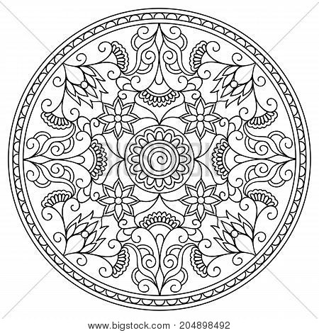 Mandala with hand drawn elements in Arabic Indian turkish pakistan tribal motifs. Image for anti-stress therapy adult coloring book tattoo decorate plates porcelain ceramics crockery. eps 10