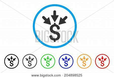 Aggregate Payment rounded icon. Style is a flat aggregate payment grey symbol inside light blue circle with black, gray, green, blue, red, orange variants.