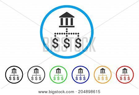 Bank Payments rounded icon. Style is a flat bank payments grey symbol inside light blue circle with black, gray, green, blue, red, orange versions. Vector designed for web and software interfaces.