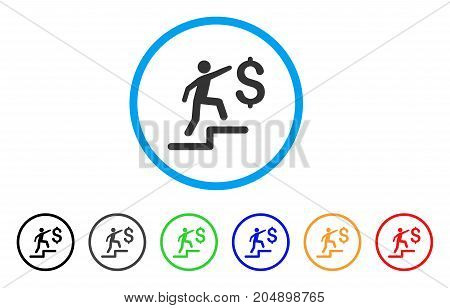 Business Steps rounded icon. Style is a flat business steps gray symbol inside light blue circle with black, gray, green, blue, red, orange variants. Vector designed for web and software interfaces.