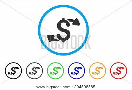 Cash Outs rounded icon. Style is a flat cash outs gray symbol inside light blue circle with black, gray, green, blue, red, orange versions. Vector designed for web and software interfaces.