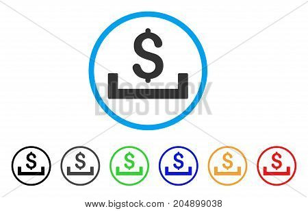 Deposit Placement rounded icon. Style is a flat deposit placement gray symbol inside light blue circle with black, gray, green, blue, red, orange versions.