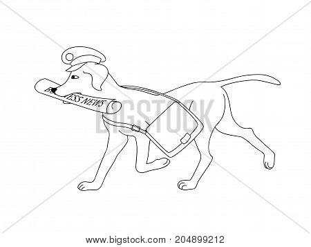 Black and white outline illustration with Isolated post dog bringing newspaper for kids coloring book album tutorials design for logo. eps 10