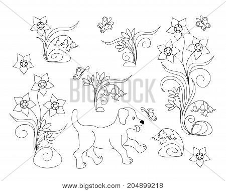Coloring page with cute cartoon puppy among flowers for children coloring book album decorate kids room wall book. Black and white outline illustration. eps 10