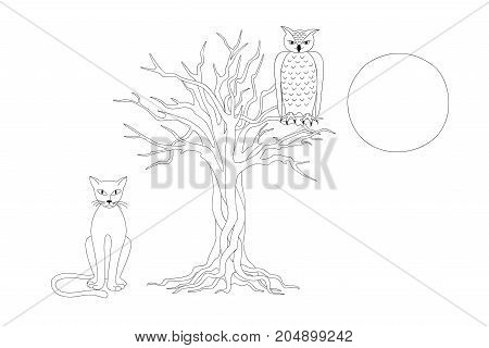 Coloring page with hand drawn cartoon cat owl and tree for kids coloring book album. Print for home art decorate wall kids room. Black and white outline illustration. eps 10