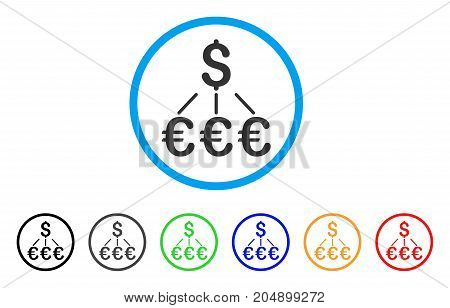 Dollar Euro Links rounded icon. Style is a flat dollar euro links gray symbol inside light blue circle with black, gray, green, blue, red, orange color versions.