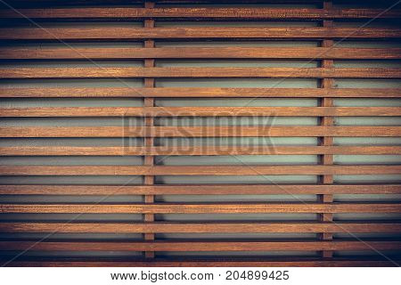 Raw Wood, Wooden Slatted Fence Or Lath Wall Background, Vintage Tone.
