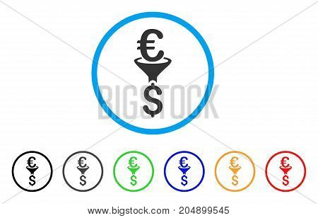 Euro Dollar Conversion Filter rounded icon. Style is a flat euro dollar conversion filter grey symbol inside light blue circle with black, gray, green, blue, red, orange color versions.
