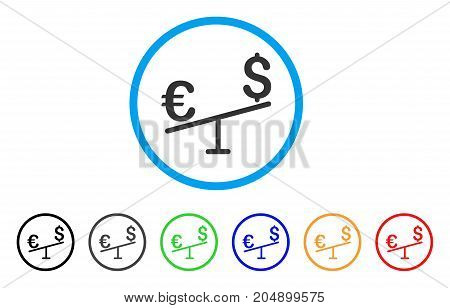 Euro Dollar Swing rounded icon. Style is a flat euro dollar swing grey symbol inside light blue circle with black, gray, green, blue, red, orange variants.