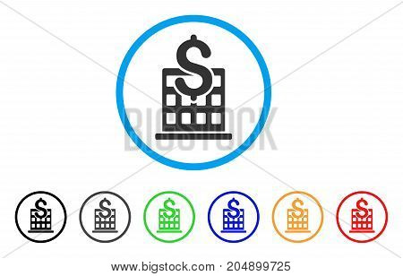 Financial Company Building rounded icon. Style is a flat financial company building gray symbol inside light blue circle with black, gray, green, blue, red, orange versions.