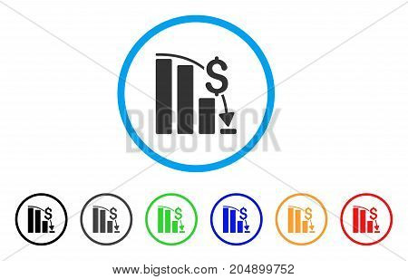 Financial Epic Fail rounded icon. Style is a flat financial epic fail gray symbol inside light blue circle with black, gray, green, blue, red, orange versions.