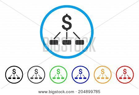 Financial Hierarchy rounded icon. Style is a flat financial hierarchy gray symbol inside light blue circle with black, gray, green, blue, red, orange variants.