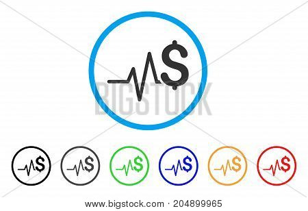 Financial Pulse rounded icon. Style is a flat financial pulse grey symbol inside light blue circle with black, gray, green, blue, red, orange color versions.